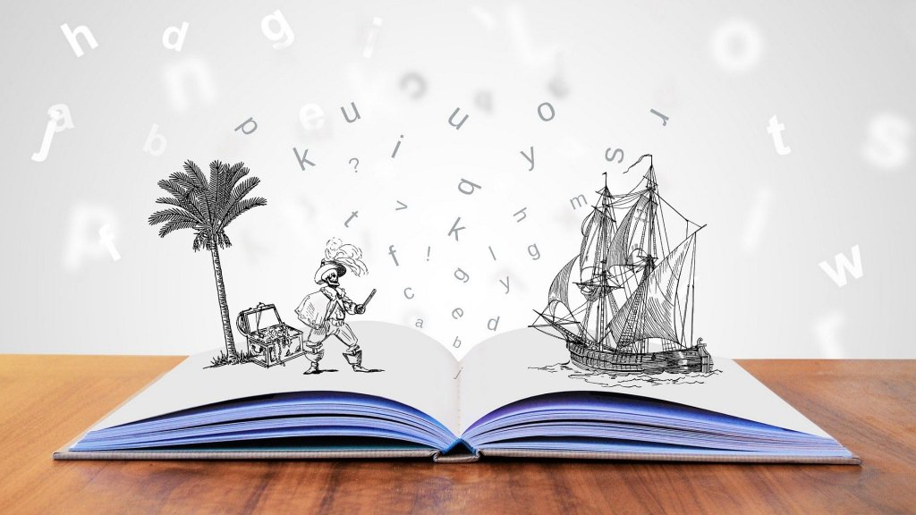Story book with pirate and pirate ship