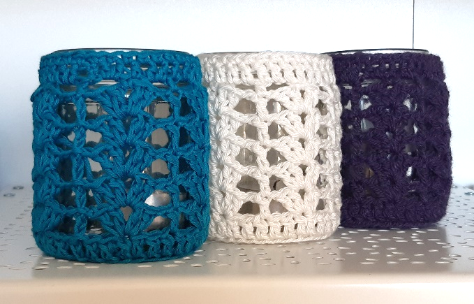 Crocheted candle holders