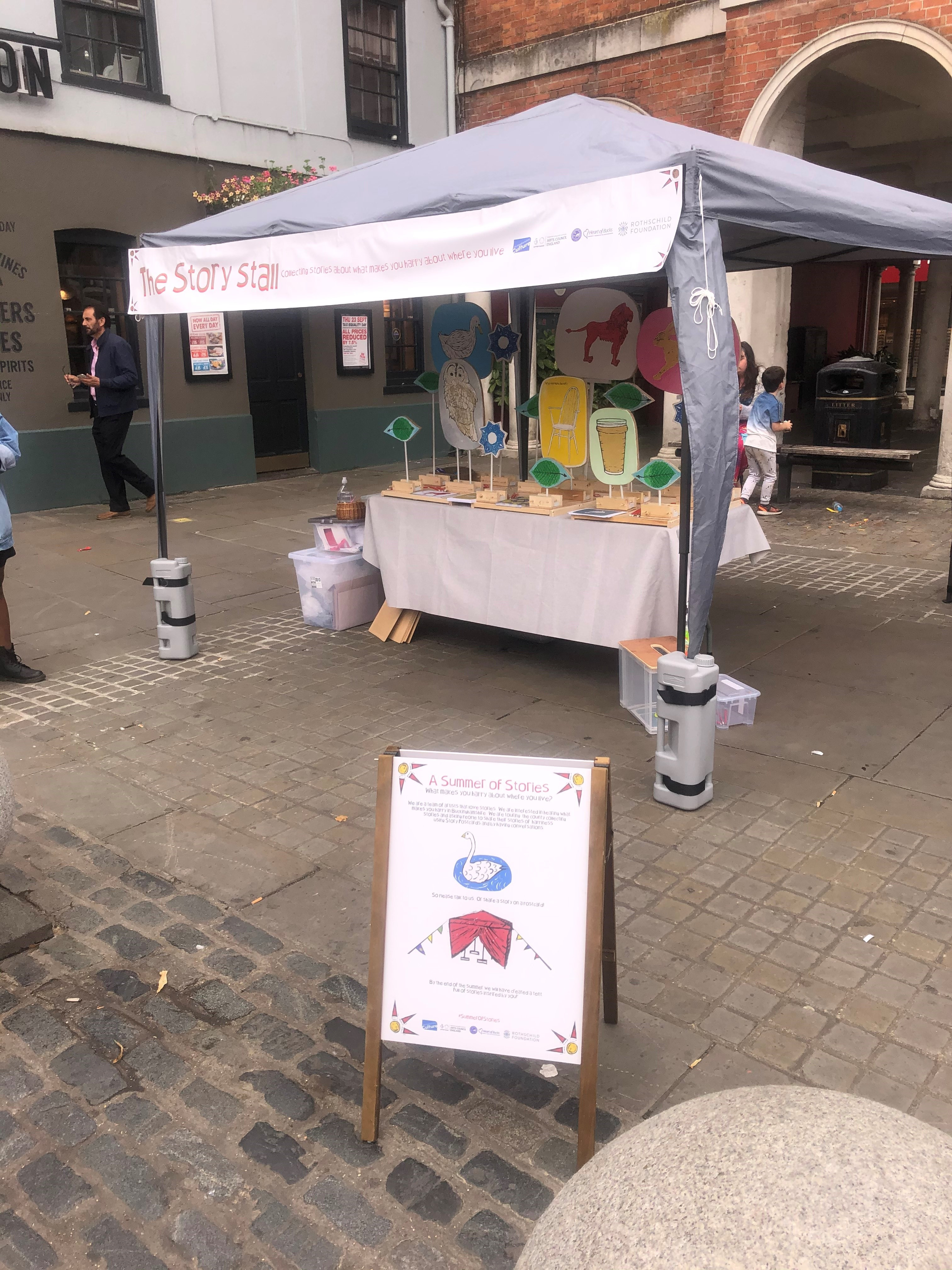 Story Stall setup at Hgh Wtcombe Market